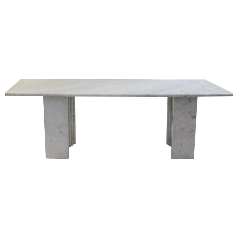 Carlo Scarpa Dining Table in Carrara Marble, Italy, 1970s