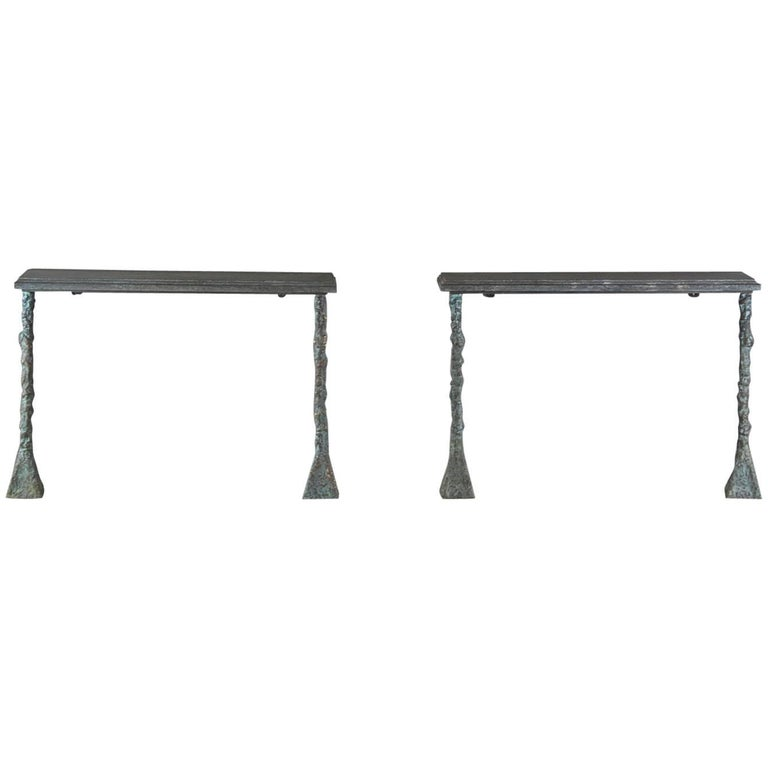 Pair of Bronze Console Tables