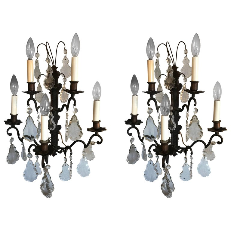 Pretty Pair of Iron and Crystal Sconces
