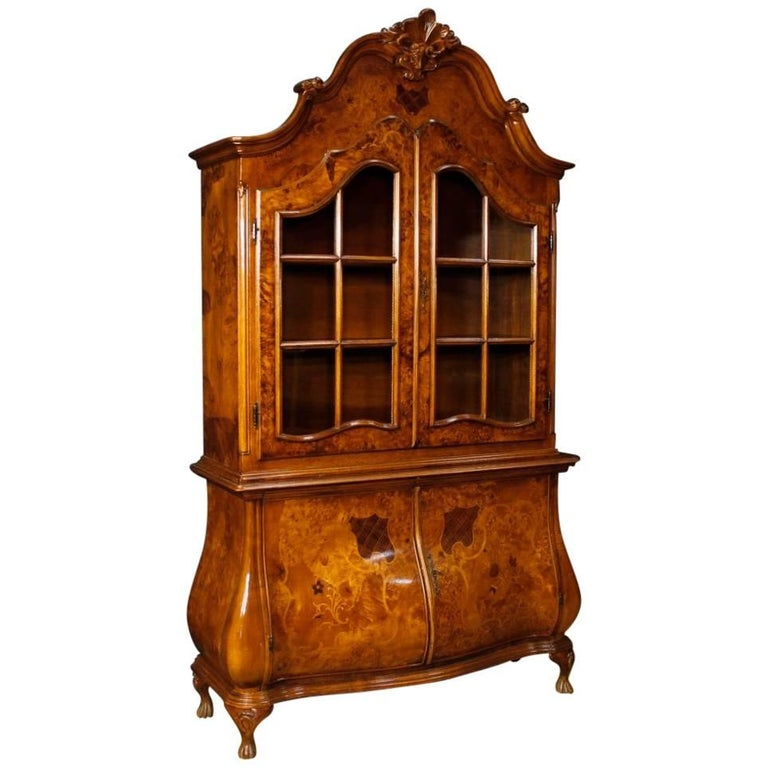 Italian Display Cabinet in Inlaid Wood from 20th Century
