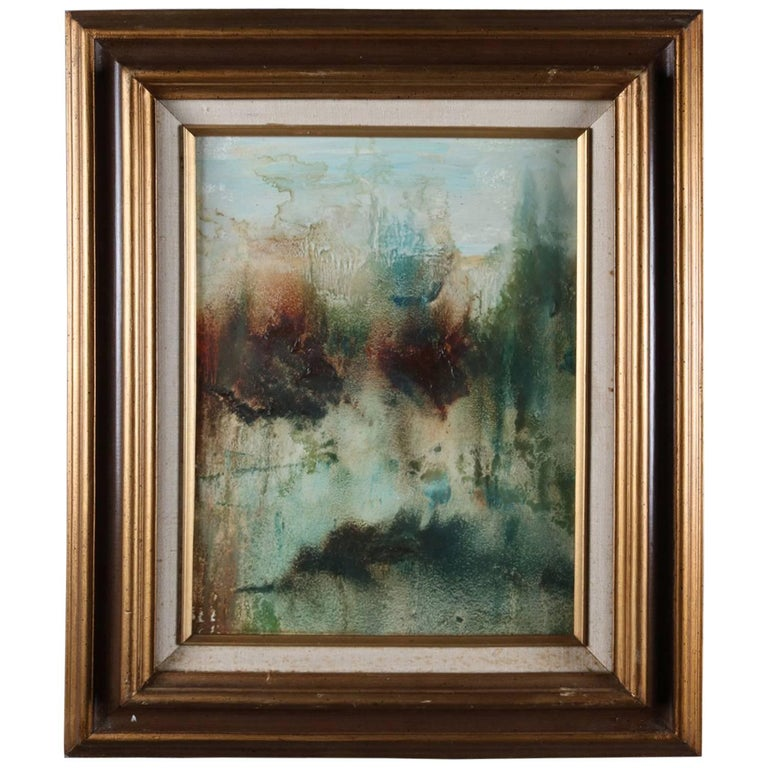 Oil on Panel Abstract Painting of Pond Scene, 20th Century