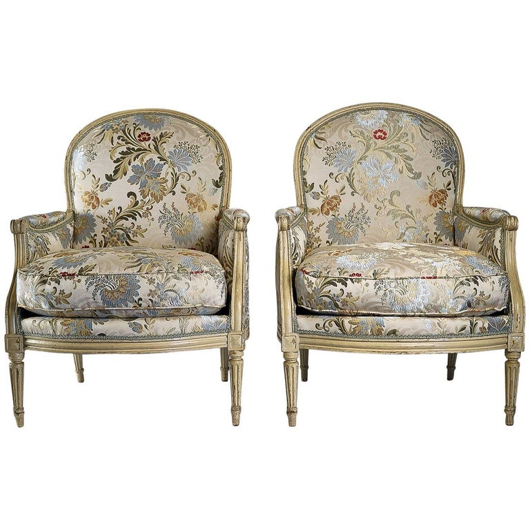French 18th Century Lacquered Wood Pair of Large Bergeres Louis XVI Period, 1780