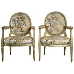 French 18th-Century, Lacquered Wood Pair of Large Armchairs Louis XVI Period