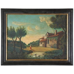 Naive 19th Century Oil on Canvas Painting Homestead