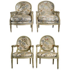French 18th Century Lacquered Beechwood Four-Piece Salon Suite Louis XVI Period