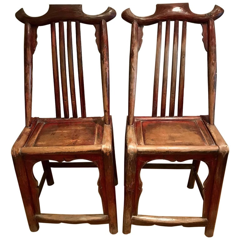 Pair of Chinese Scroll Chairs