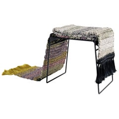 Handmade Gradient Textile and Matte Black Iron Crochet Knit Rug Stool