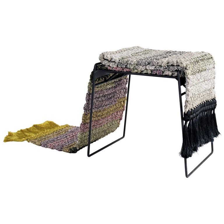 Handmade Gradient Textile and Matte Black Iron Crochet Knit Rug Stool For Sale