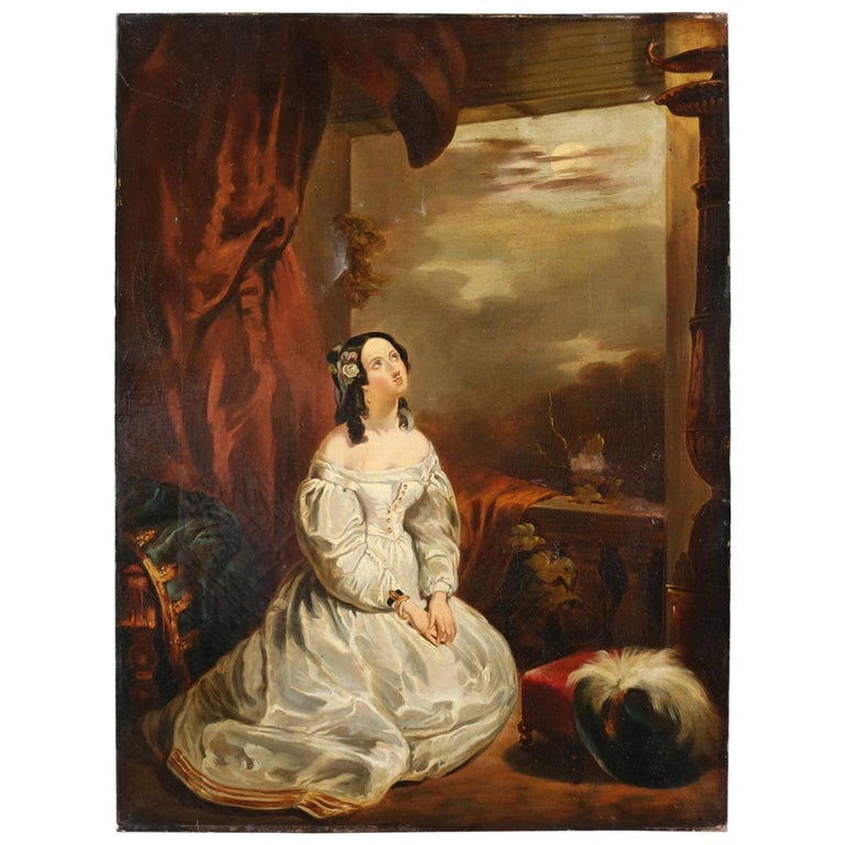 Antique English Romantic Oil on Canvas Portrait Painting of Maiden, 19th Century