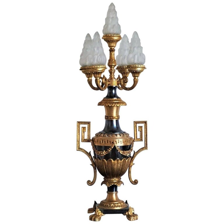 Large Empire Style Gilt and Patinated Bronze Urn, Amphora Table Lamp For Sale