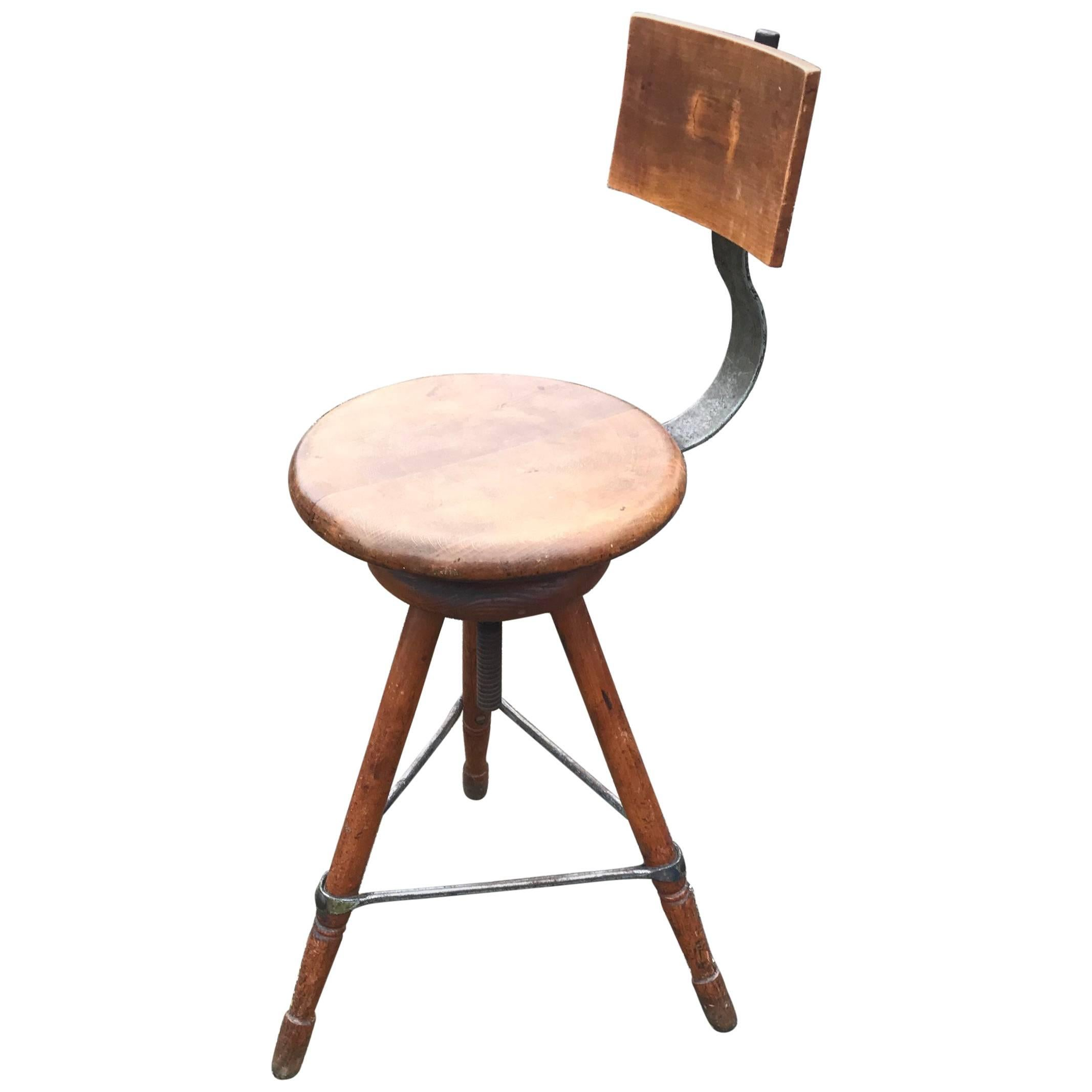 Rare Industrial Artist Studio Spindle Chair Or Stool Adjustable In Height,  1920s For Sale