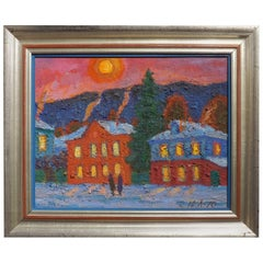 """Winter Evening"" Original Soviet Era Painting by Russian Yuri Lobachev, 1970"