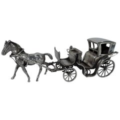 Antique Sterling Silver Horse-Drawn Brougham Carriage