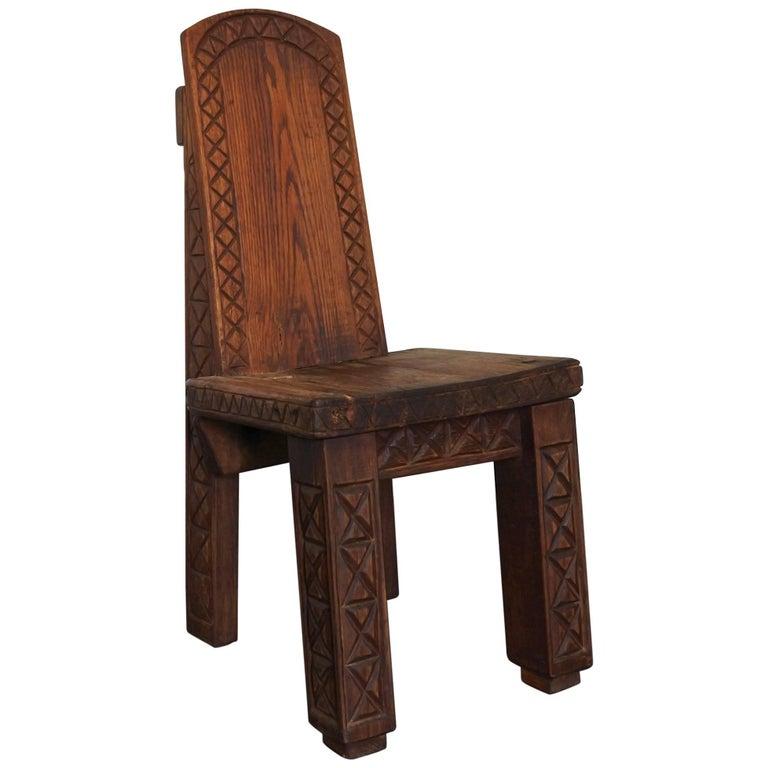 Africanist Solid Oak Wood Studio Chair, France, 1974