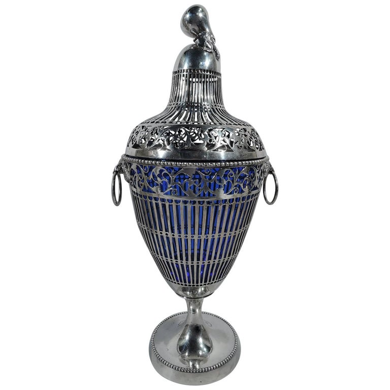 Antique Neoclassical English-Imported German Sterling Silver Urn