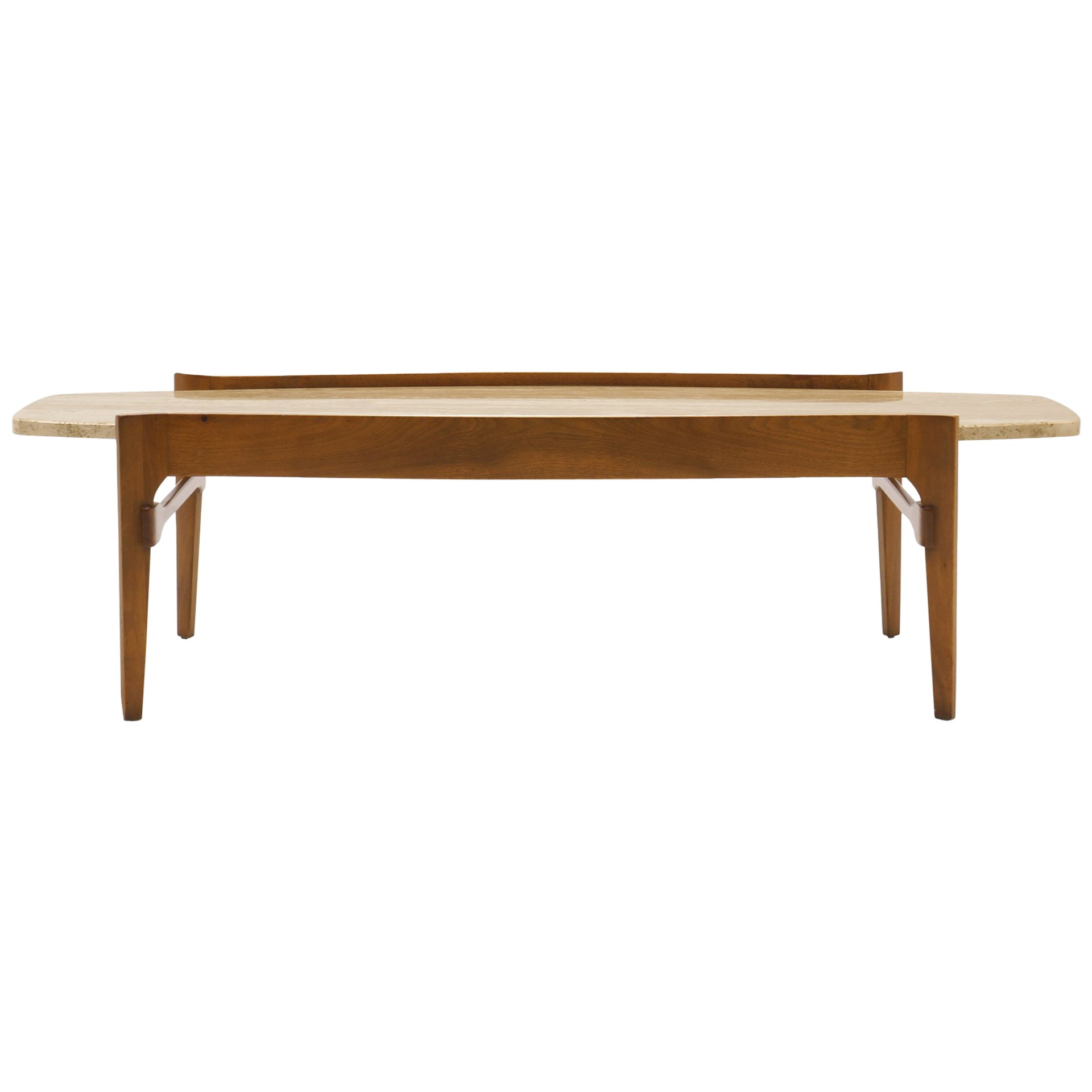 Coffee Table by Bertha Schaefer, Walnut with Travertine Top