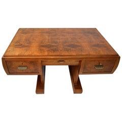 Art Deco Writing Desk in Walnut on a Central Base