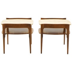 Bertha Schaefer End or Side Tables Walnut with Travertine Tops