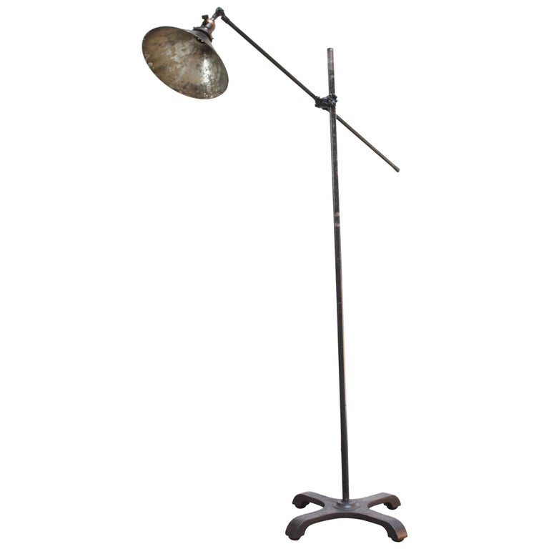 Vintage Industrial Articulating Floor Lamp by O.C. White