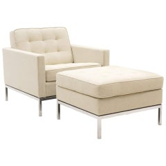 Florence Knoll Lounge Chair and Ottoman, Chrome Frame, Expertly Restored, White