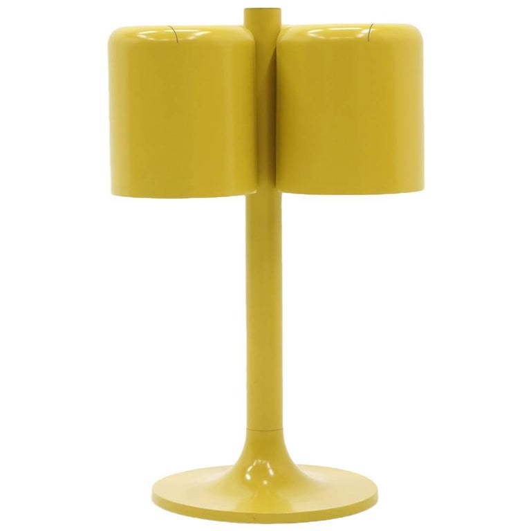 Neal Small Large Table Lamp, Three Original Mustard Yellow Color Shades For Sale
