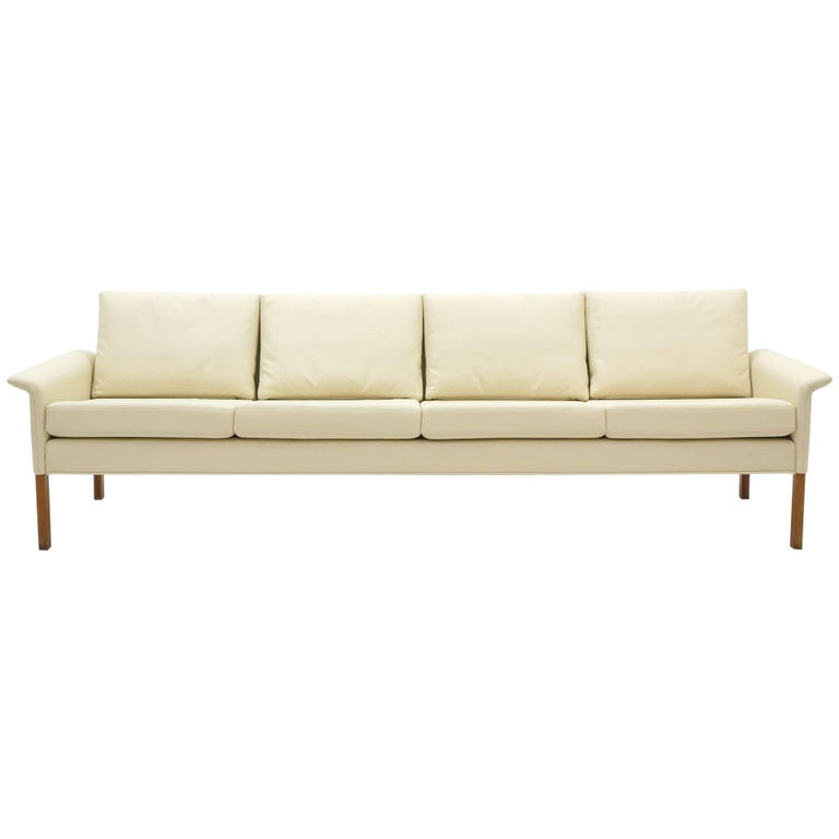 Four-Seat Sofa by Hans Olsen, White/ Ivory Leather with Rosewood Legs, Perfect