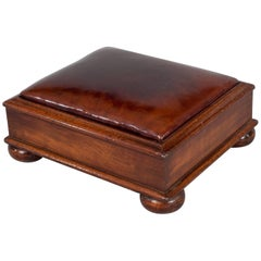Antique Mahogany Brown Leather Footstool