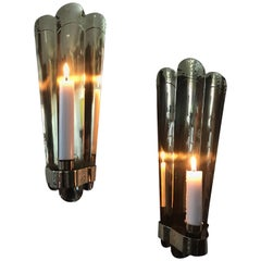Swedish Art Deco Brass Wall Sconces or Wall Candleholders by C & N Svängsta