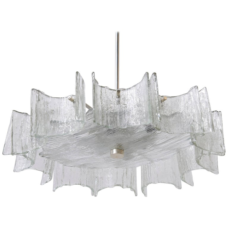 Murano Large Kalmar Iced Glass Chandelier, 1960s