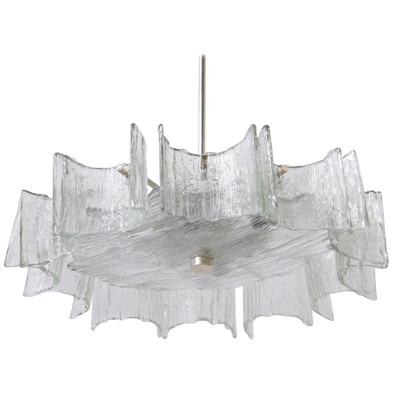 Murano Large Kalmar Iced Glass Chandelier, 1960s