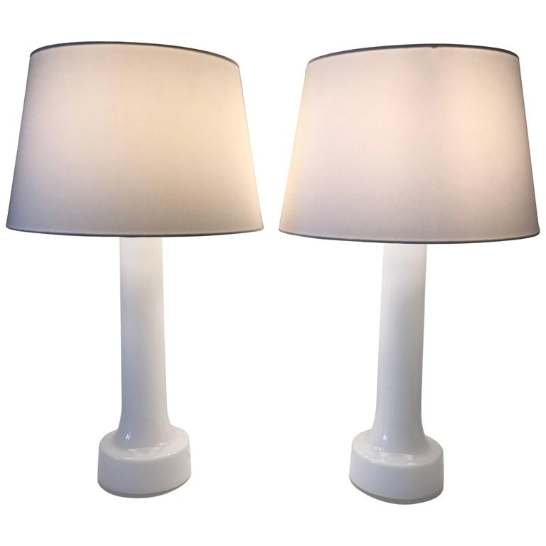 Large Pair of 1960 Swedish Bergboms Opaline Glass Table Lamps