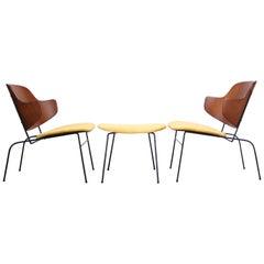 Rare IB Kofod Larsen Penguin Chairs and Ottoman in Velvet