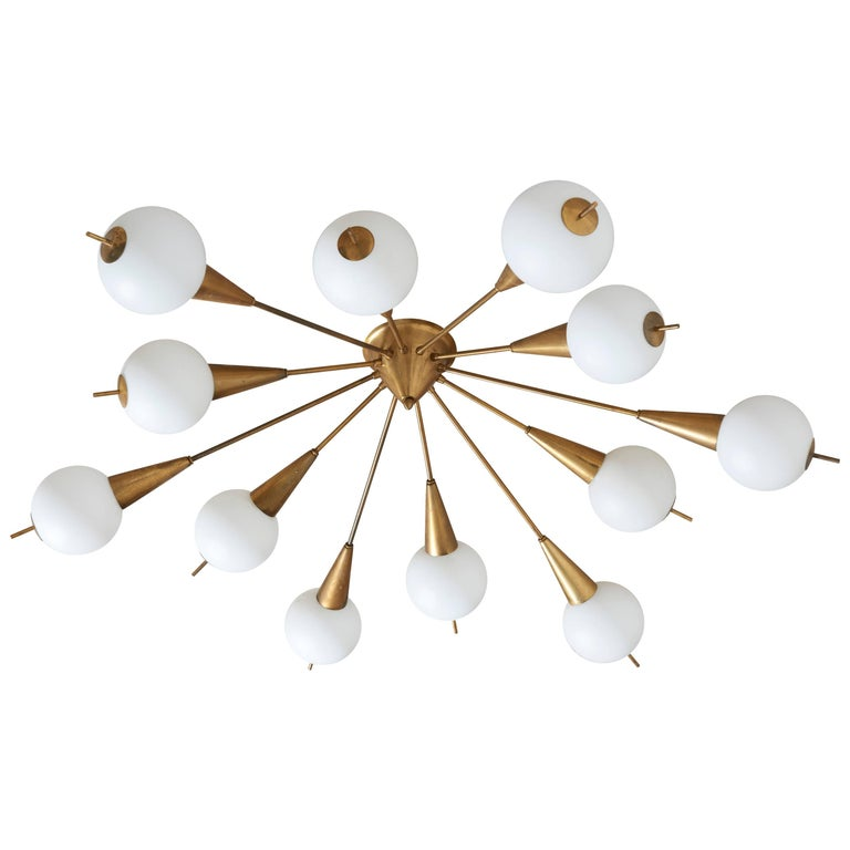 Ceiling Mount or Wall Mount Light Fixture in Style of Stilnovo, Italy, 1950s