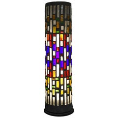 Midcentury Architectural Floor Lamp in Colored Mosaic Glass, France, 1960s