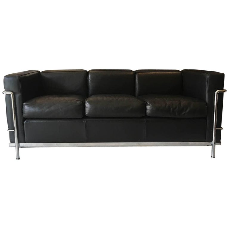 LC2 Petit Modele Three-Seat Sofa Designed by Le Corbusier for Cassina
