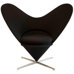 Heart Cone Chair by Verner Panton for Vitra in Black, Wool Fabric