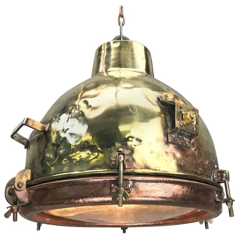 1960s Japanese Industrial Brass, Copper and Convex Glass Dome Pendant Light