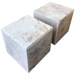 Pair of Rustic Unpolished Italian Travertine Cube Coffee Tables