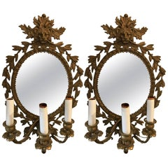 Stunning Pair of Neoclassical French Bronze Sconces