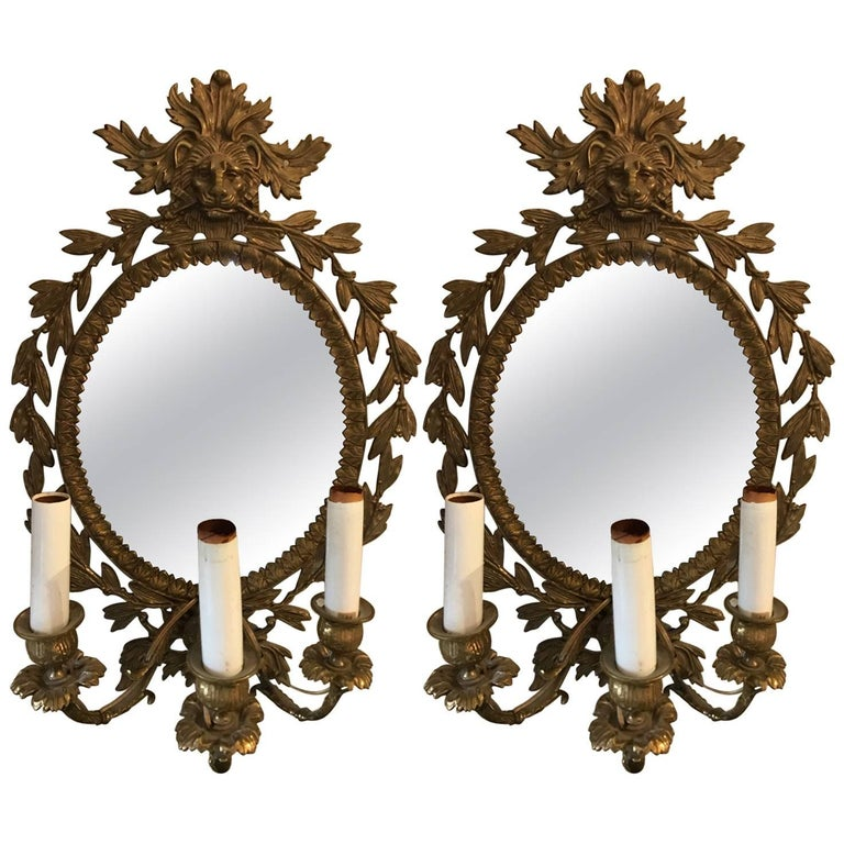 Stunning Pair of Neoclassical French Bronze Sconces For Sale