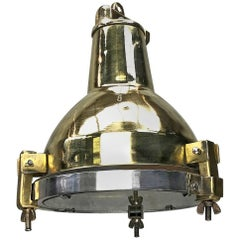 Late Century Korean Industrial Brass, Aluminium and Glass Spot Light Pendant