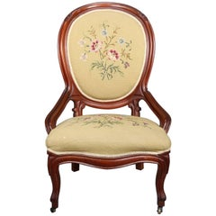 Victorian Carved Walnut and Needlepoint Upholstered Side Chair, 19th Century