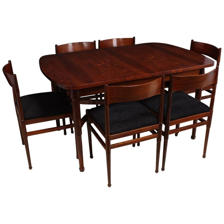 Midcentury Italian Dining Table and Six Chairs in Rosewood