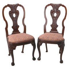 Antique Carved Mahogany Chippendale Style Side Chairs by Potthast Bros