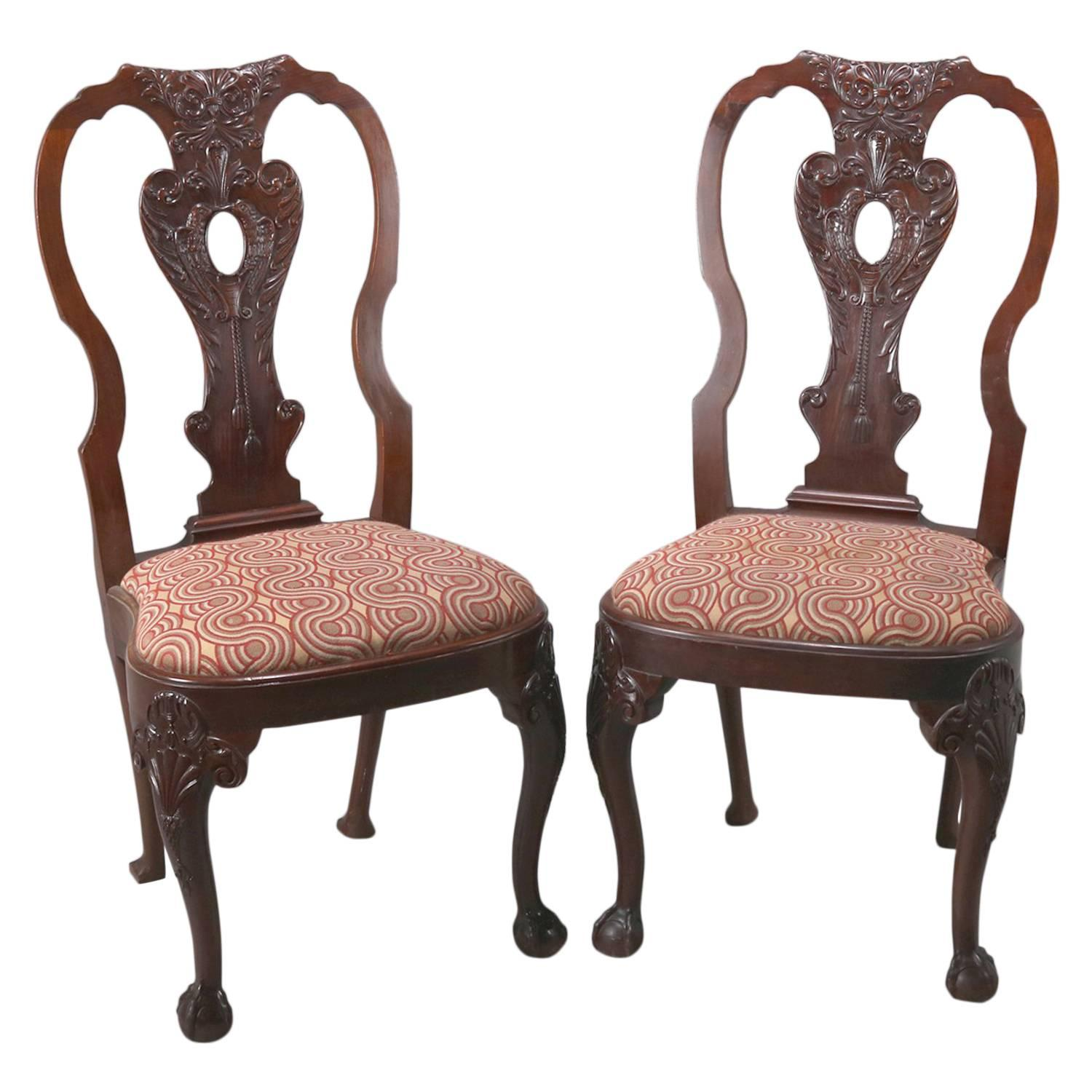 Antique Carved Mahogany Chippendale Style Side Chairs By Potthast Bros For  Sale