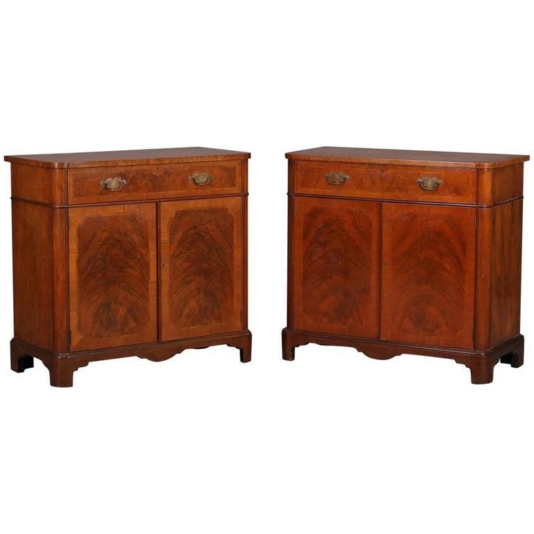 Georgian Style Burled Walnut Credenza Cabinets by Schmeig & Kotzian, circa 1930