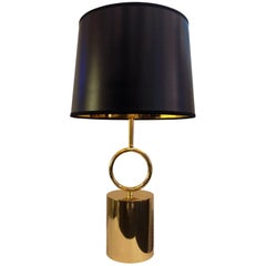 "New Brass Table Lamp, ""Hoop"" Polished Brass or Rustic Bronze, Made in Italy"