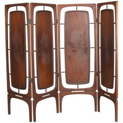 Mid-Century Danish Modern Four-Panel Teak Privacy Dressing Screen, 20th Century
