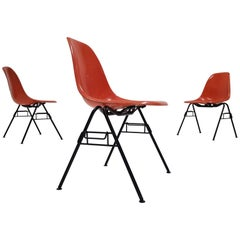 Vintage Charles & Ray Eames DSS Stacking Chairs for Herman Miller