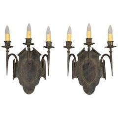 Antique Pair of Large Scale  Tudor Spanish Revival Regal 3 Light 1920s Sconces
